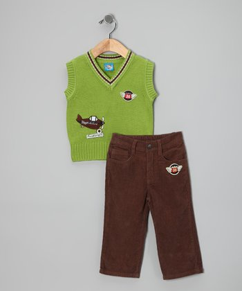 Lime 'Travel Company' Sweater Vest & Pants — Toddler