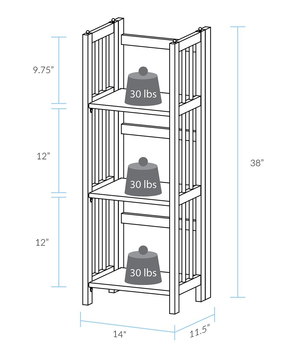 Honey Oak Three Shelf Folding Stackable Bookcase