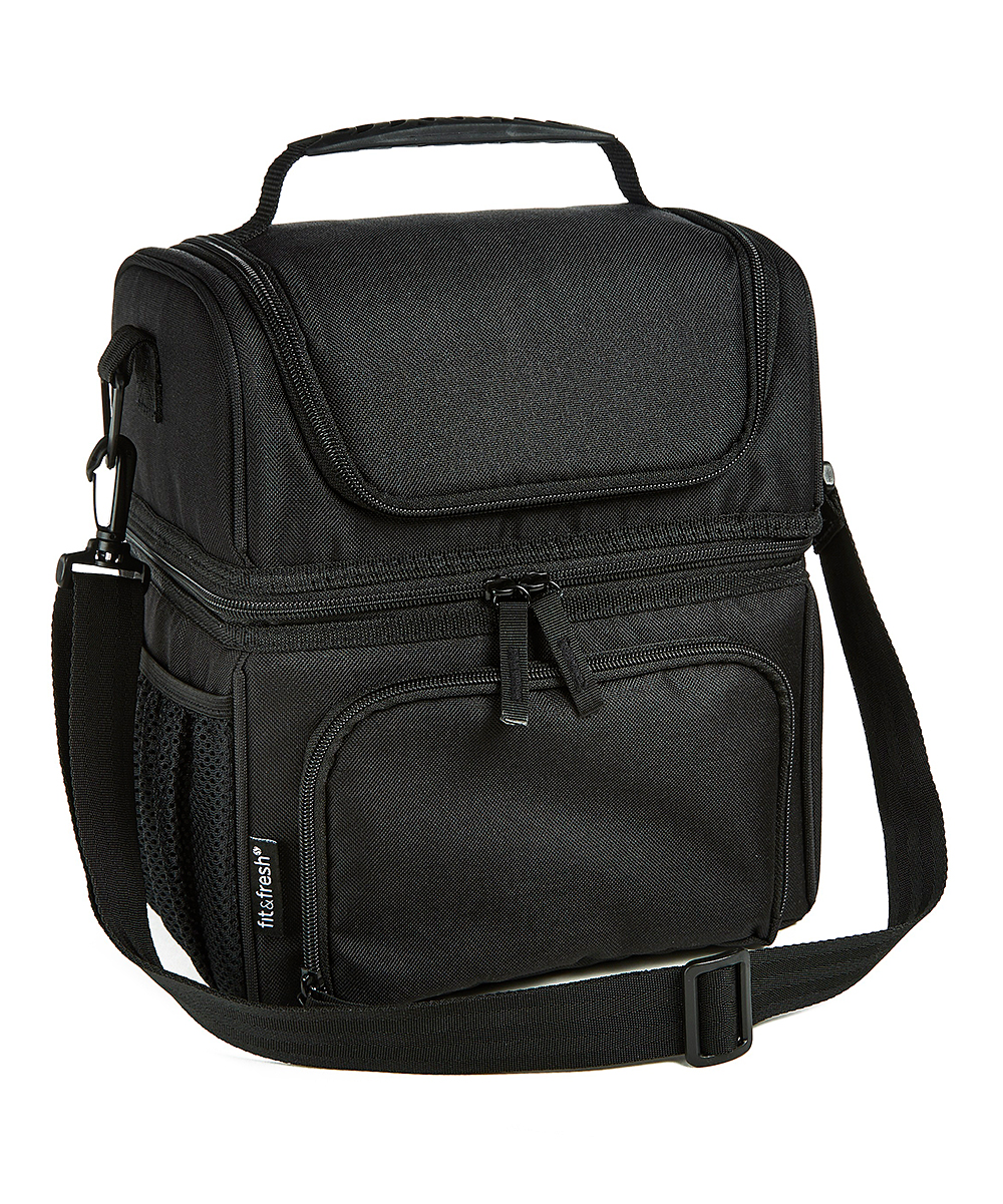 a52f2585132b Fit & Fresh® Black Ultimate Dual Compartment Insulated Lunch Bag