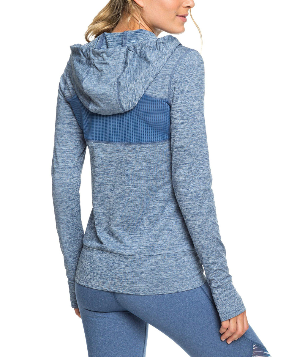 3a20f1069 ... Womens True Navy Blue Mesh-Accent Zip-Up Hoodie - Alternate Image 3 ...