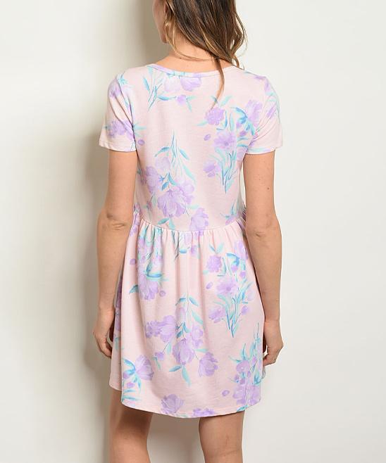 dae942cc4382 Blush & Lavender Floral Scoop Neck Swing Dress - Women   Zulily