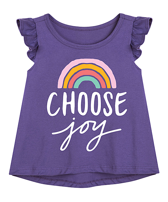Instant Message Girls' Tee Shirts PURPLE - Purple 'Choose Joy' Rainbow Flutter-Sleeve Tee