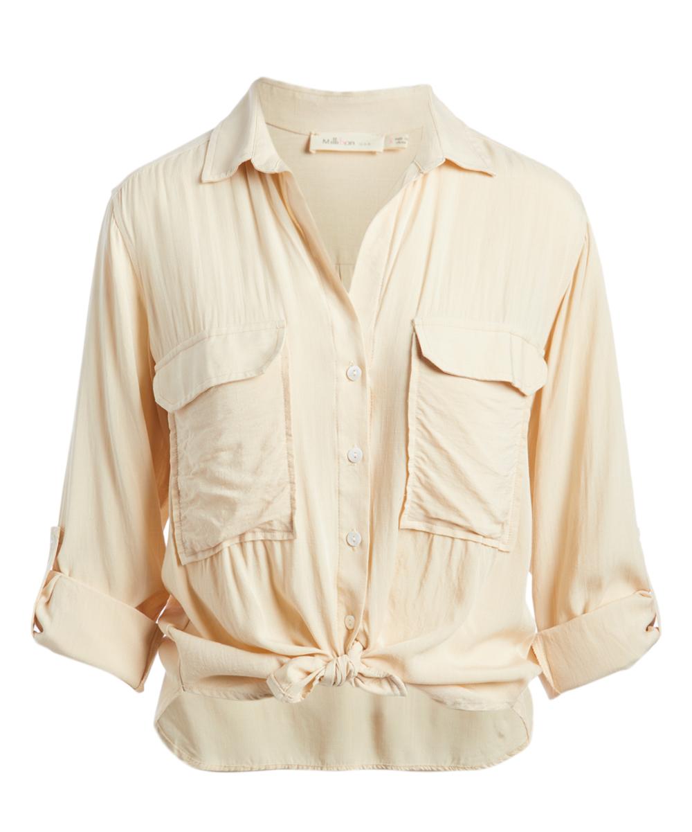 82dd7b586a24 Millibon Light Peach Tie-Front Button-Up - Women | Zulily