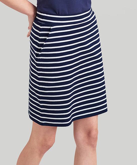 87cfad18d7 Joules French Navy & White Stripe Portia Skirt - Women | Zulily