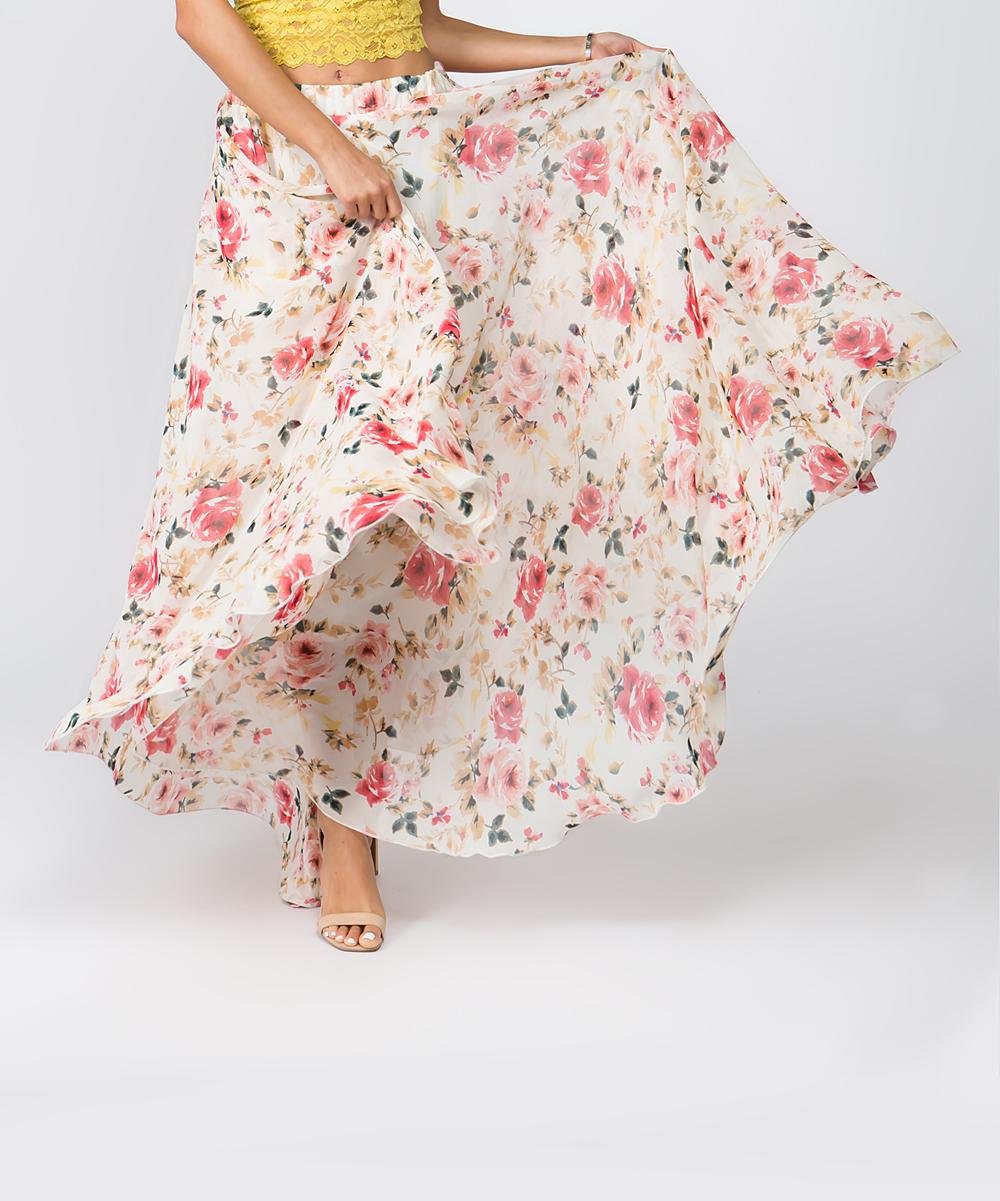 583110a25801 ... Womens CREAM Cream Floral Chiffon Maxi Skirt - Alternate Image 2 ...