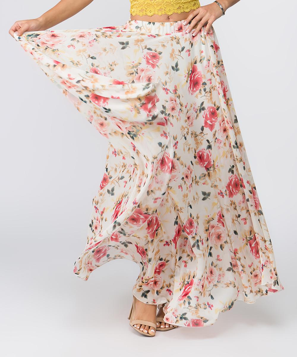 8af6a17b02dd ... Womens CREAM Cream Floral Chiffon Maxi Skirt - Alternate Image 3 ...