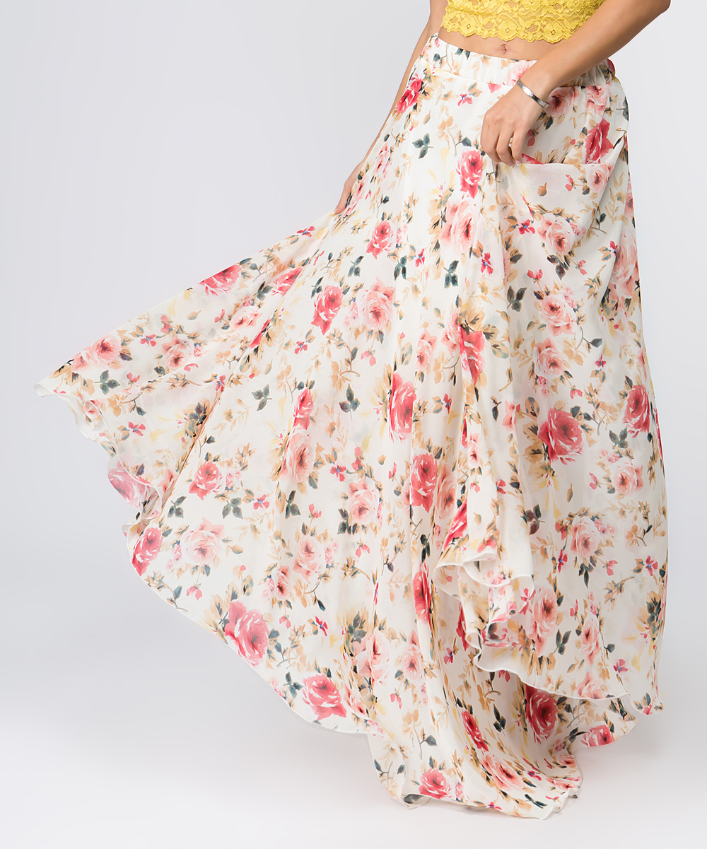 6728af34a167 ... Womens CREAM Cream Floral Chiffon Maxi Skirt - Alternate Image 4 ...