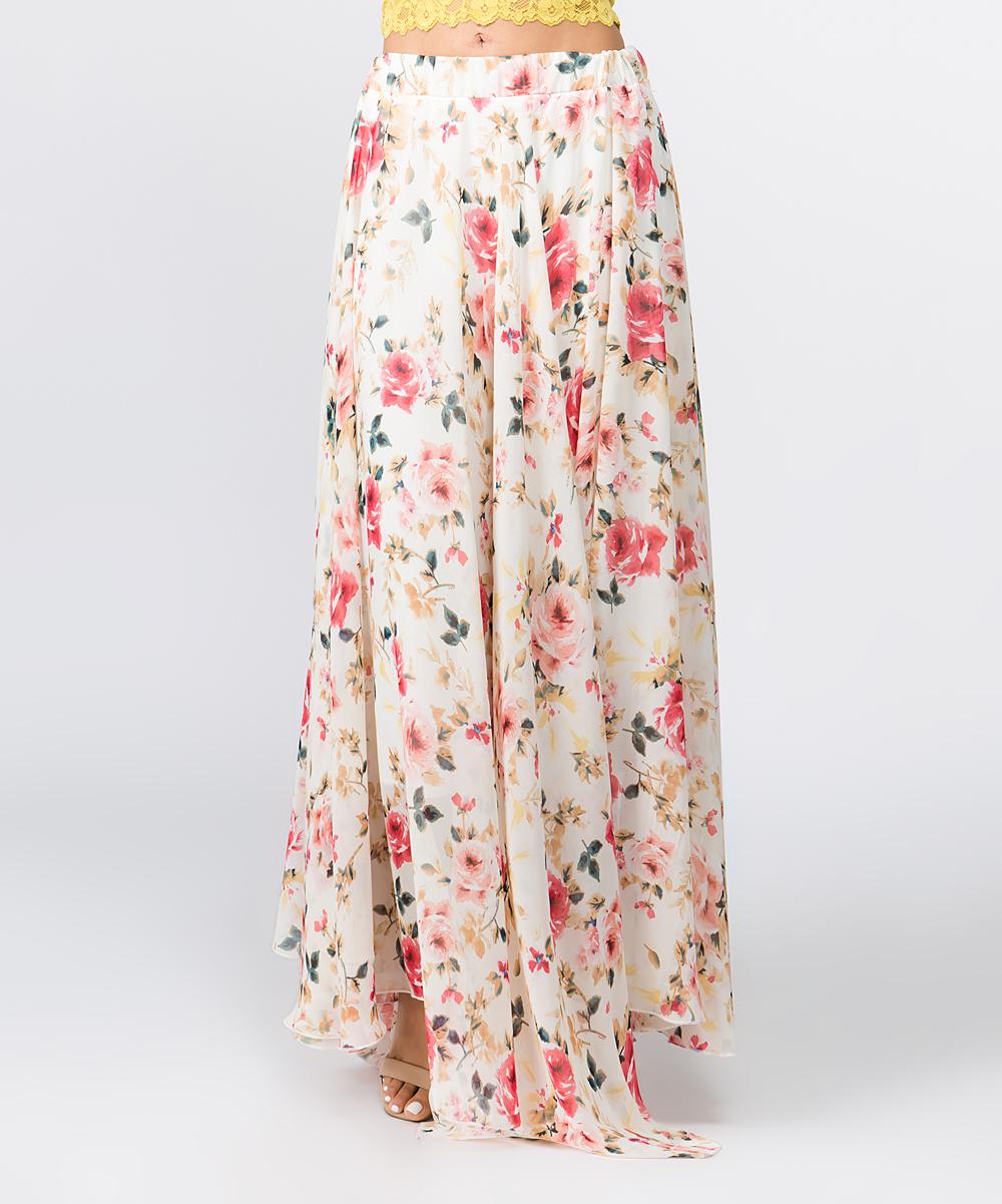 959d6c4e46a0 ... Womens CREAM Cream Floral Chiffon Maxi Skirt - Alternate Image 5