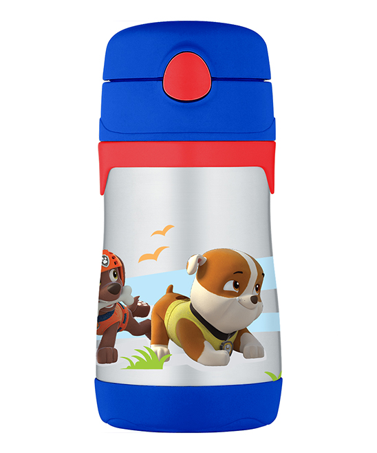 Paw Patrol Blue Insulated Straw 10-Oz. Thermos Paw Patrol Blue Insulated Straw 10-Oz. Thermos. This handy thermos combines entertainment-loving panache with travel-ready convenience thanks to heat-trapping stainless steel, a pop-out attached straw in the lid and an adventurous graphic. Includes thermos, lid and attached straw6.6'' HHolds 10 oz.Stainless steel / plasticHand washImported