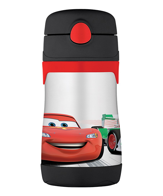 Cars Black Lightning McQueen Insulated Straw 10-Oz. Thermos Cars Black Lightning McQueen Insulated Straw 10-Oz. Thermos. This handy thermos combines entertainment-loving panache with travel-ready convenience thanks to heat-trapping stainless steel, a pop-out attached straw in the lid and an adventurous graphic. Includes thermos, lid and attached straw6.6'' HHolds 10 oz.Stainless steel / plasticHand washImported