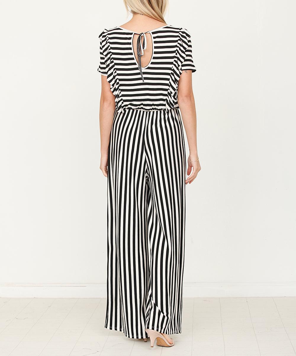 c7a733144 ... Womens BLACK WHITE Black & White Stripe Ruffle-Trim Jumpsuit -  Alternate Image 4