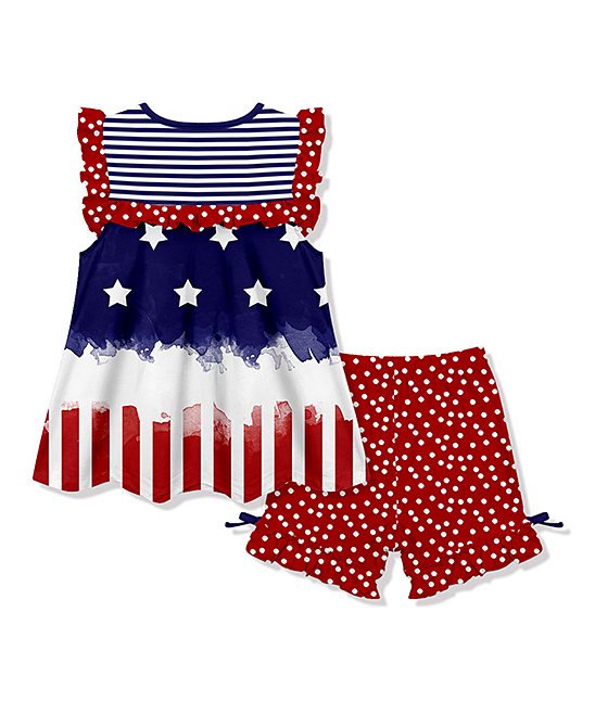 5e06113e19dc2 love this product Blue & Red Stars & Stripes Angel-Sleeve Top & Red Dot  Shorts - Toddler
