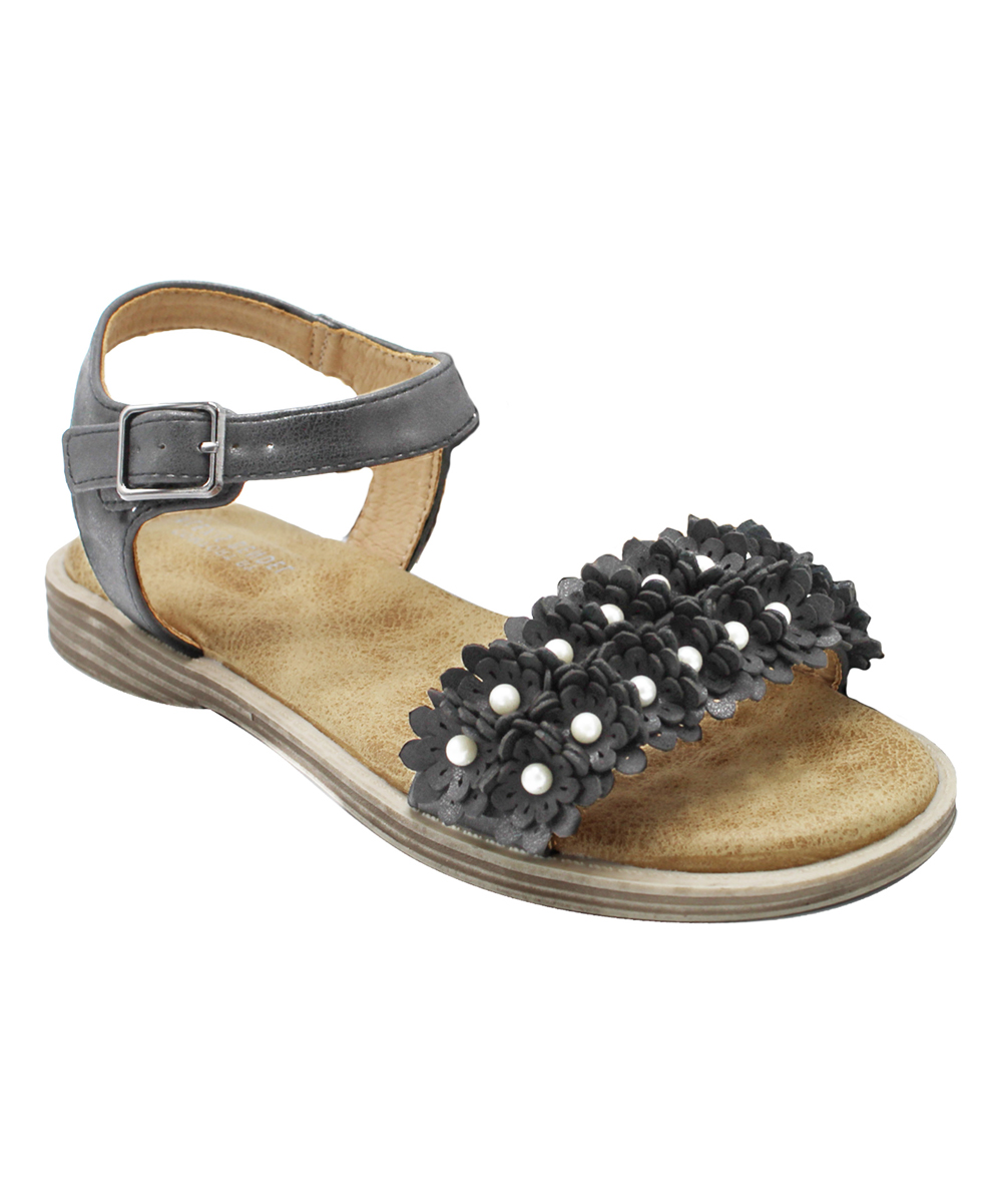 Pewter Floral-Strap Clover Sandals - Women Pewter Floral-Strap Clover Sandals - Women. Be the blossom of the block in these fun, flower-strapped sandals boasting an ankle buckle to keep your feet secure.Buckle closureMan-made upperMan-made liningMan-made soleImported