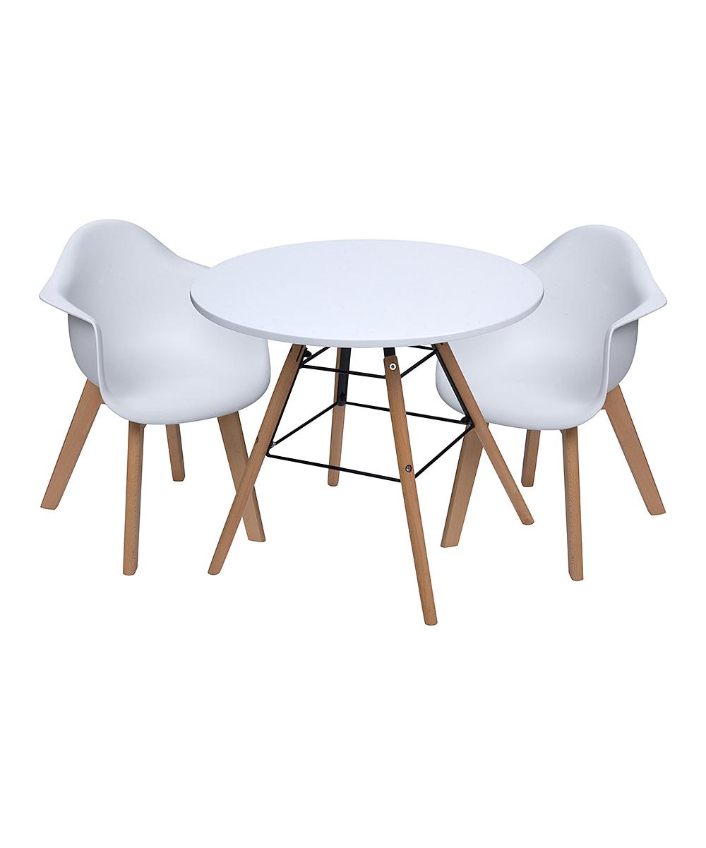White Children's Modern Table & Arm Chair Set