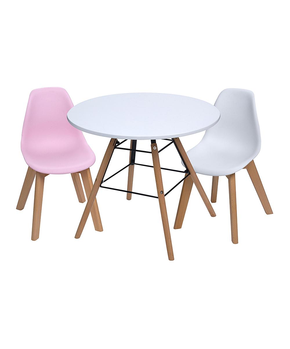 White Children's Modern Table & Pink & White Chair Set