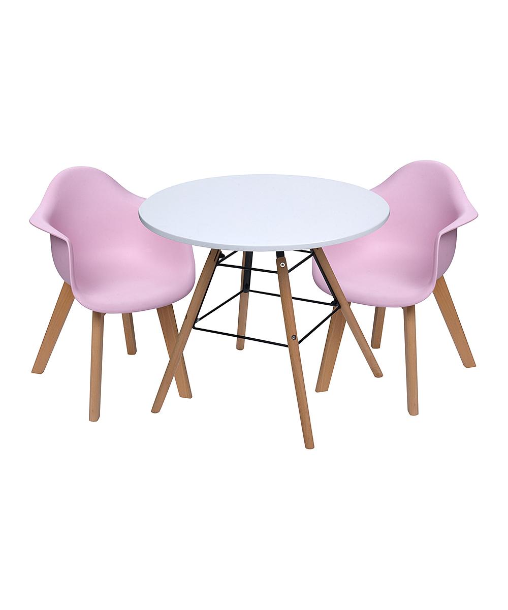 White & Pink Children's Modern Table & Arm Chair Set