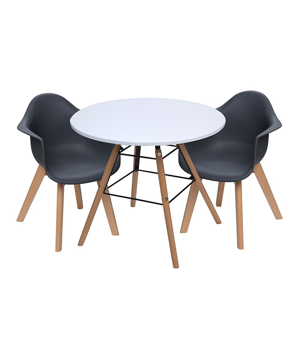White Modern Table & Black Chair Children's Set