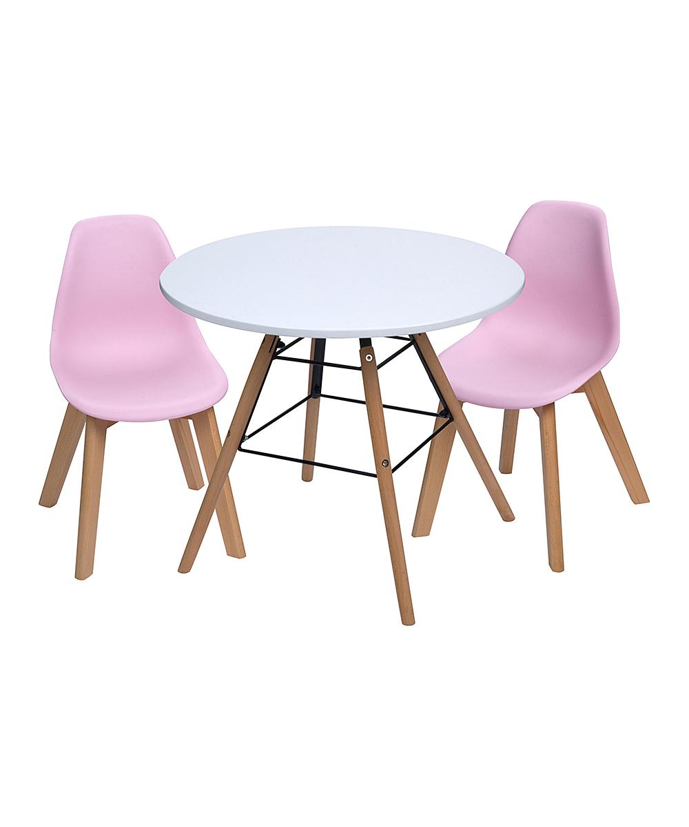 White & Pink Children's Modern Table & Chair Set