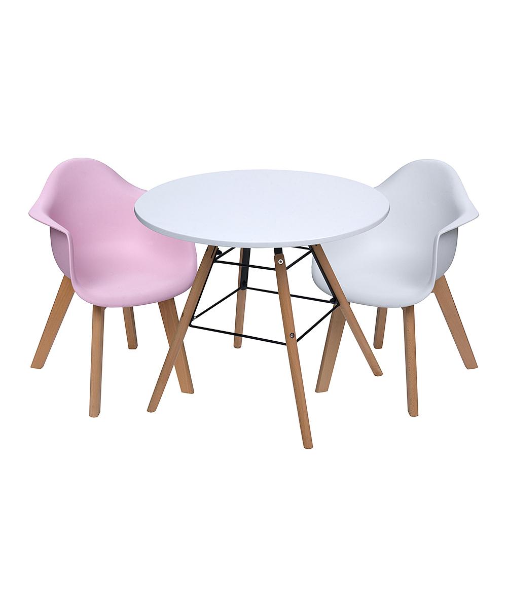 White Children's Modern Table & Pink & White Arm Chair Set