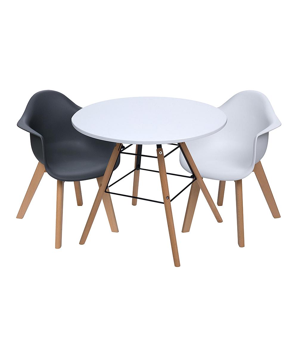 White & Black Children's Modern Table & Arm Chair  Set
