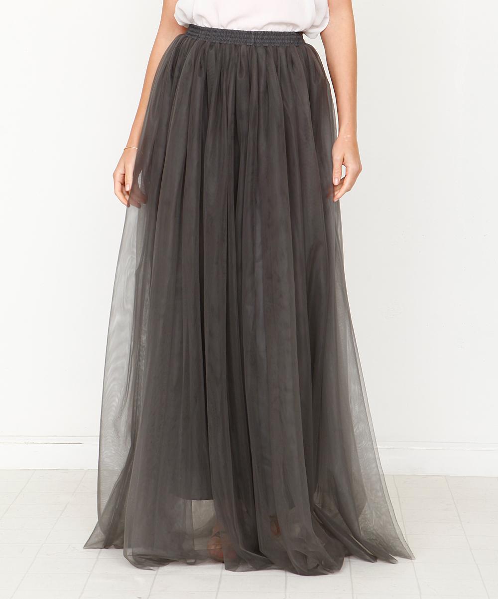 1a04e07c6a Dark Grey Tulle Maxi Skirt
