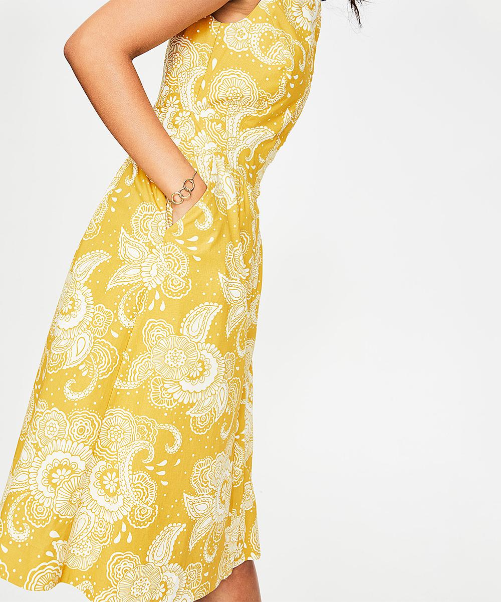 0183407978 Boden Mimosa Yellow Paisley Garden Leila Shirt Dress - Women
