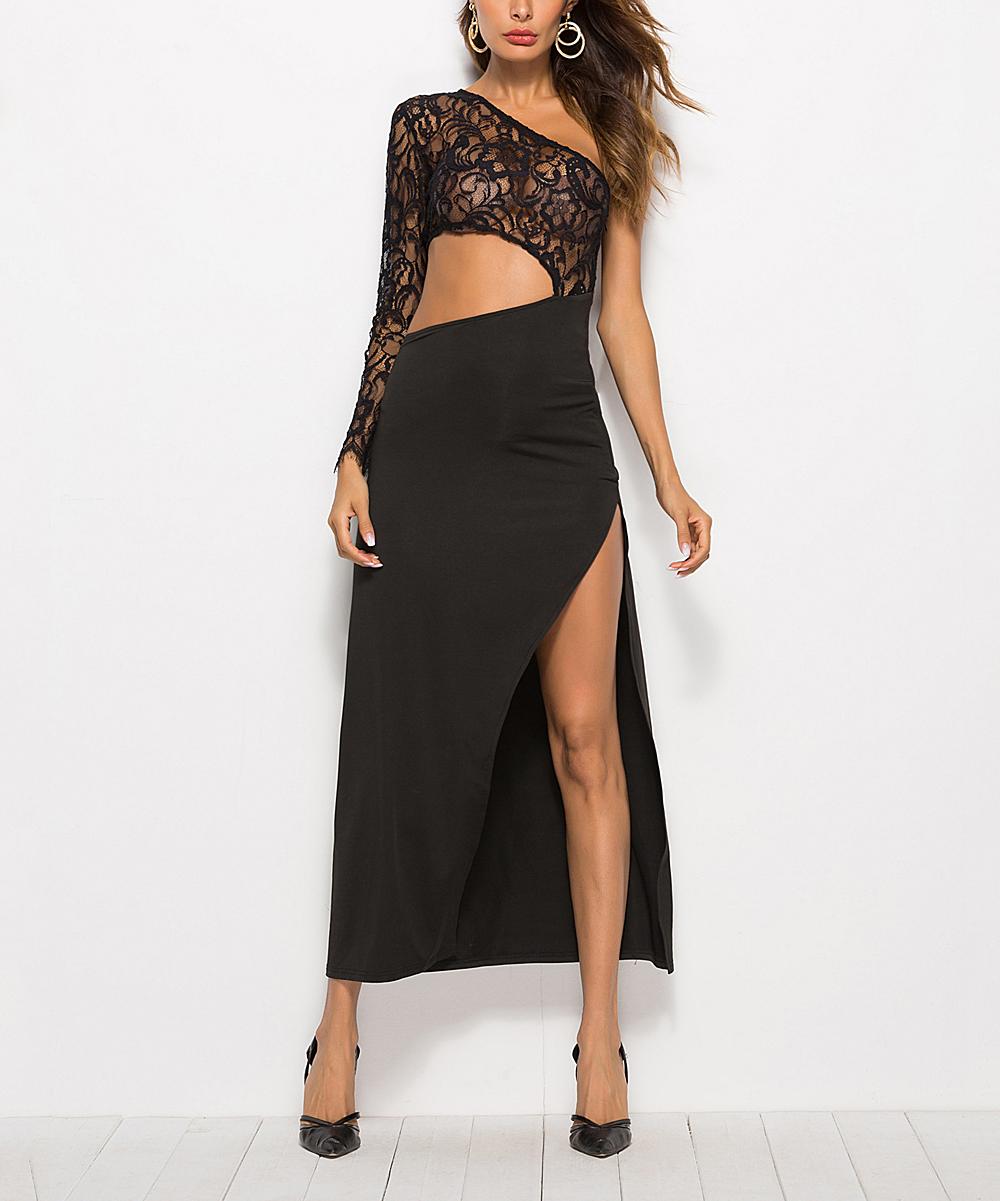 d11d4b2b755 Black Lace Cutout Maxi Dress - Women   Plus