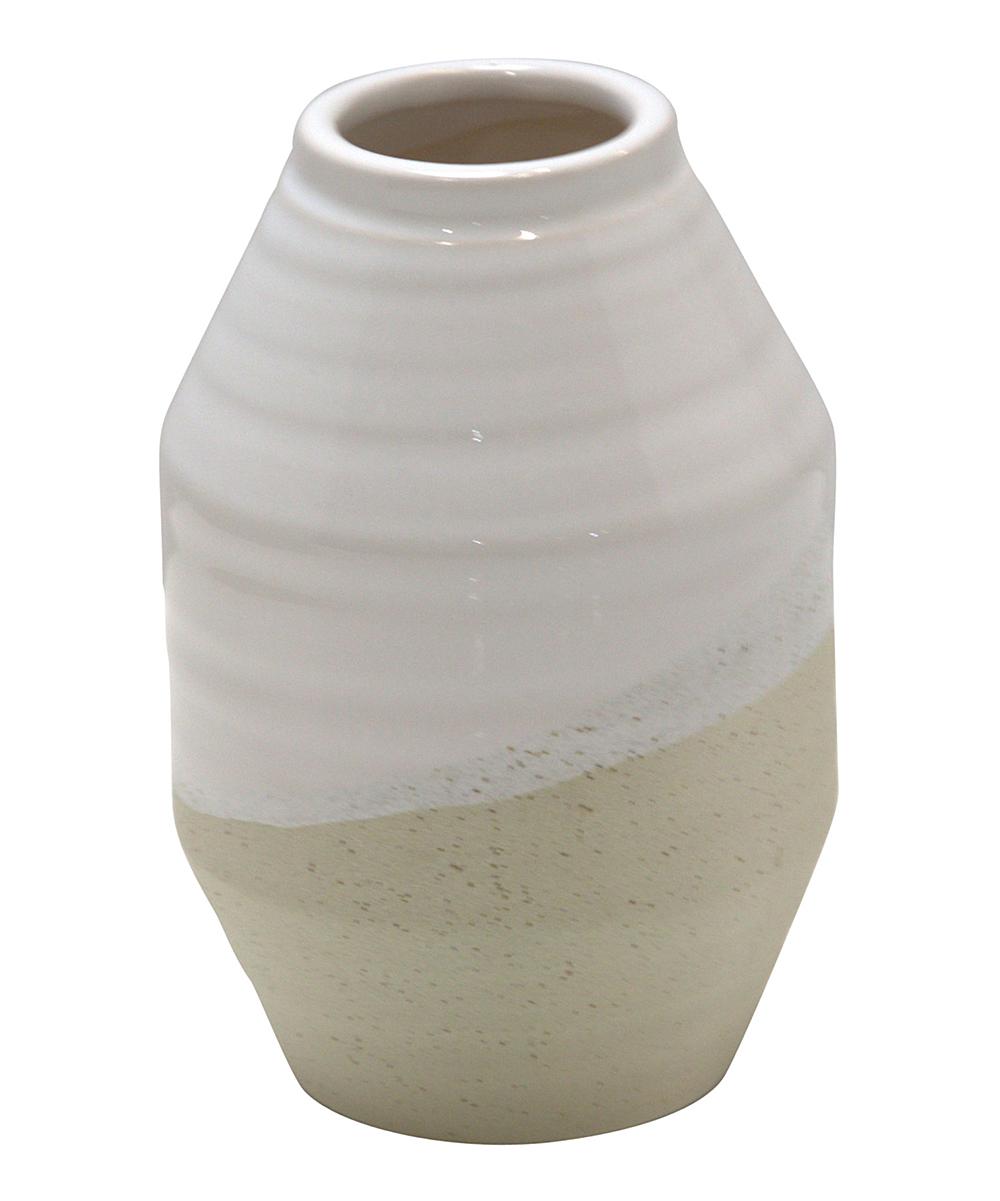 Home Essentials and Beyond  Vases  - 8'' White & Beige Vase