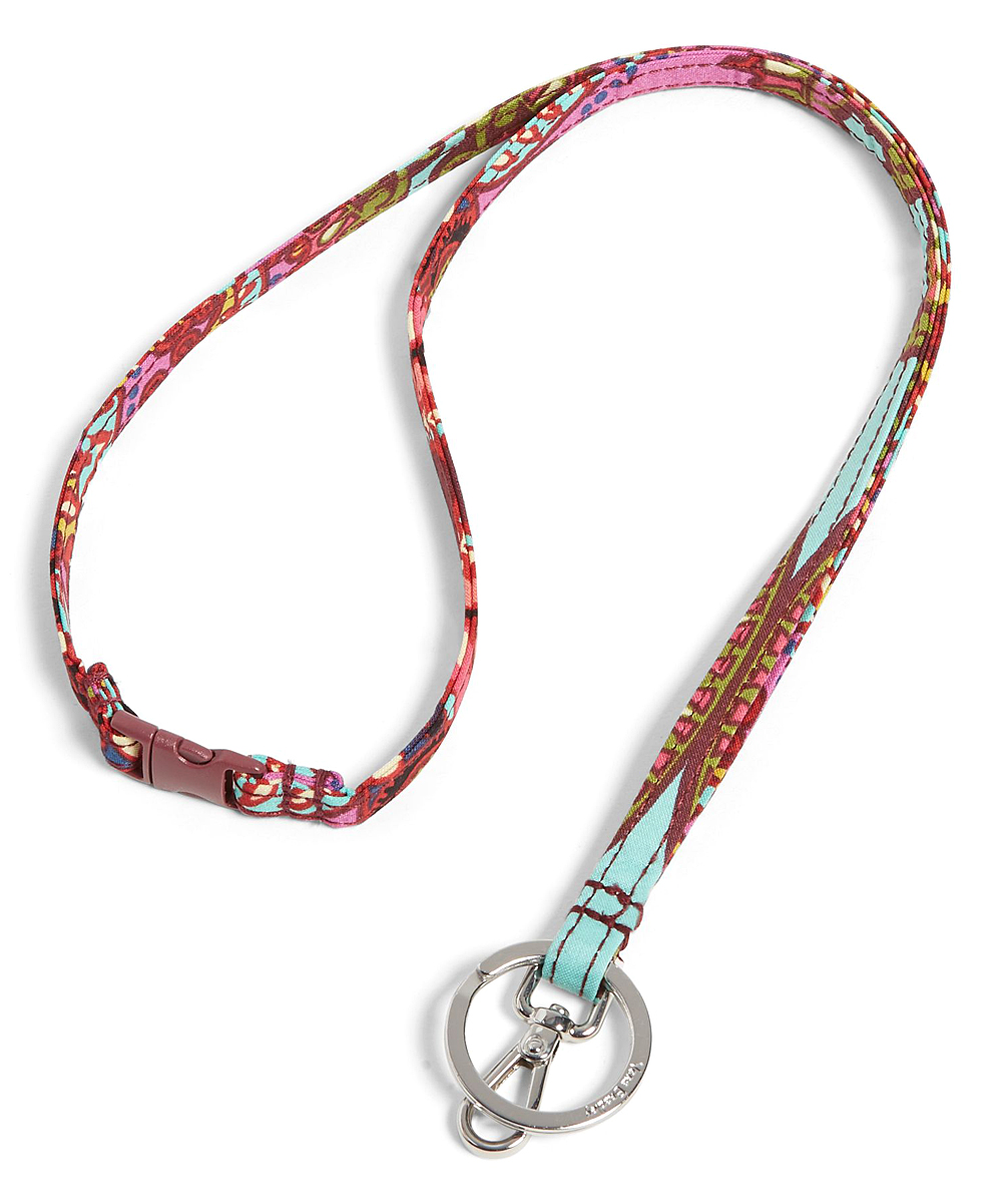 Resort Medallion Breakaway Lanyard Resort Medallion Breakaway Lanyard. Anchor your ID badges, keys or other accessories to this colorful lanyard for safe and effortless display, retrieval and transportation.0.5'' W x 18.5'' LCottonSignature key ringLobster claw clip and ID clipImported