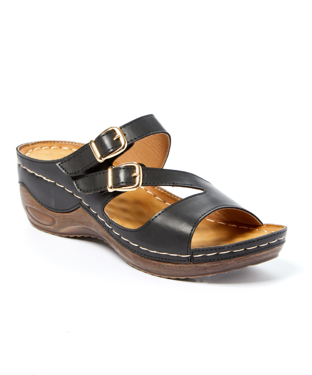 14ce275c5147 Styluxe Black Tiki Dual-Buckle Sandal - Women