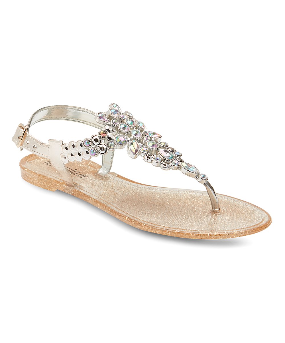 a80486e0e47e Olivia Miller Gold Jewel-Accent Dine and Dash Sandal - Women