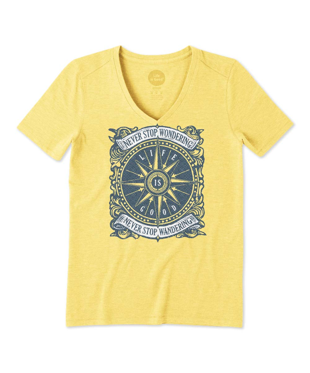280eb88115 Life is Good® Happy Yellow Wander Compass Cool V-Neck Tee - Women & Plus