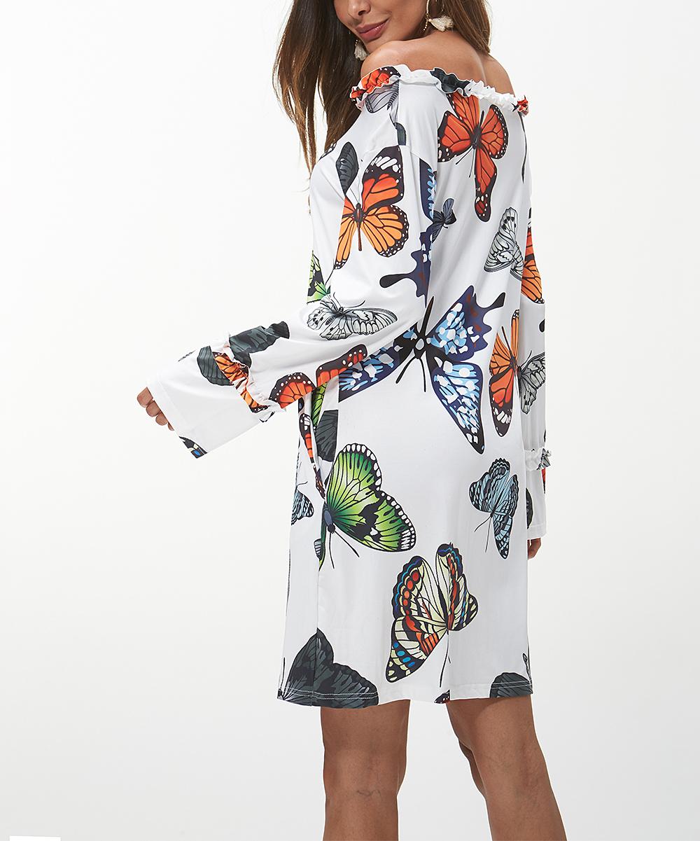 d55b377f5aa Maison Mascallier White Butterfly Off-Shoulder Dress - Women