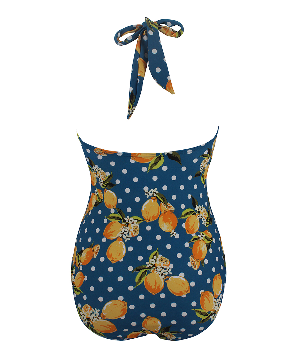 3de487b049 ... Womens Blue Blue Polka Dot Lemon Bow One-Piece - Alternate Image 3 ...