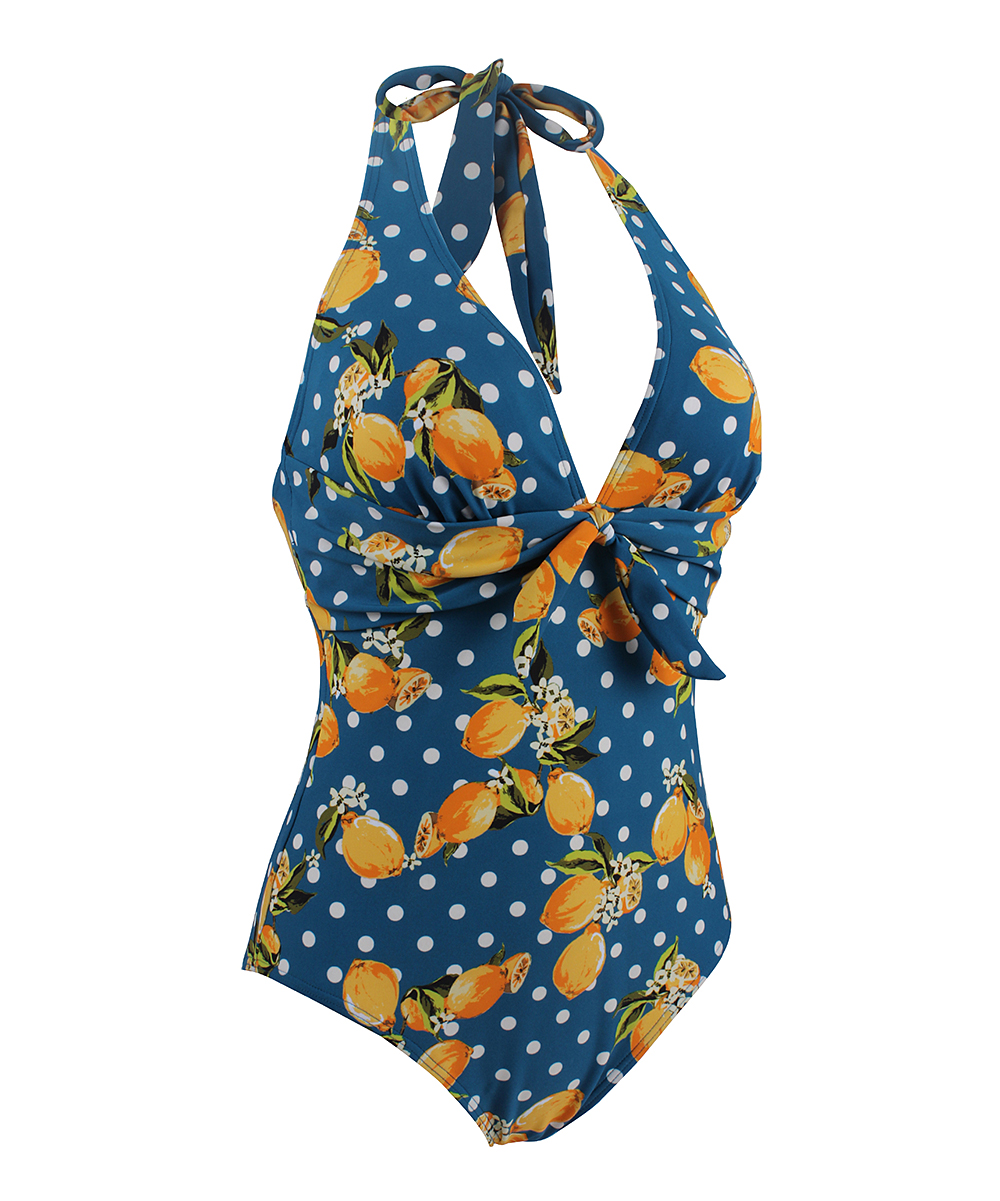 afbe40d6bb ... Womens Blue Blue Polka Dot Lemon Bow One-Piece - Alternate Image 4