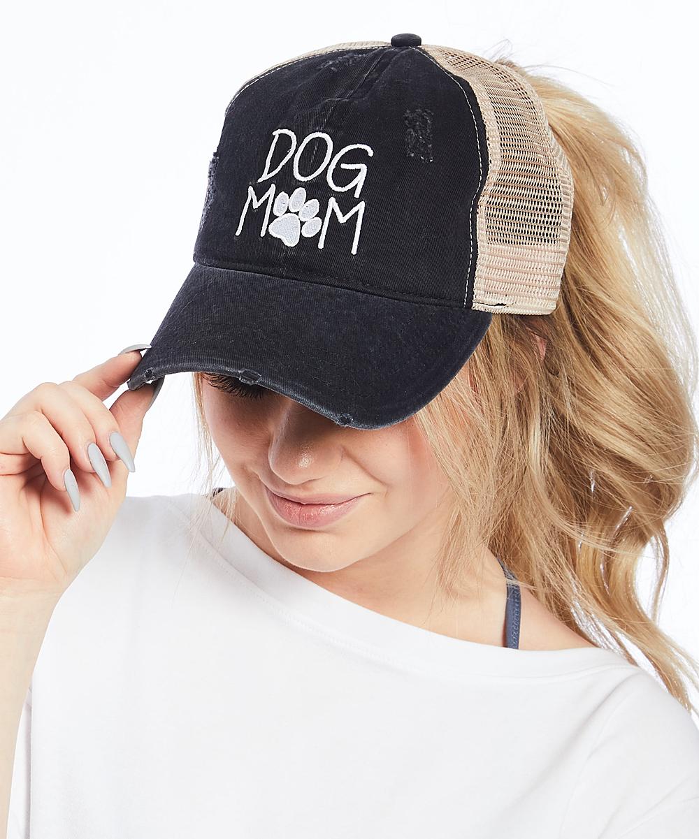 3e2c44ca ... Womens BLACK Black 'Dog Mom' Ponyflo Trucker Hat - Alternate ...