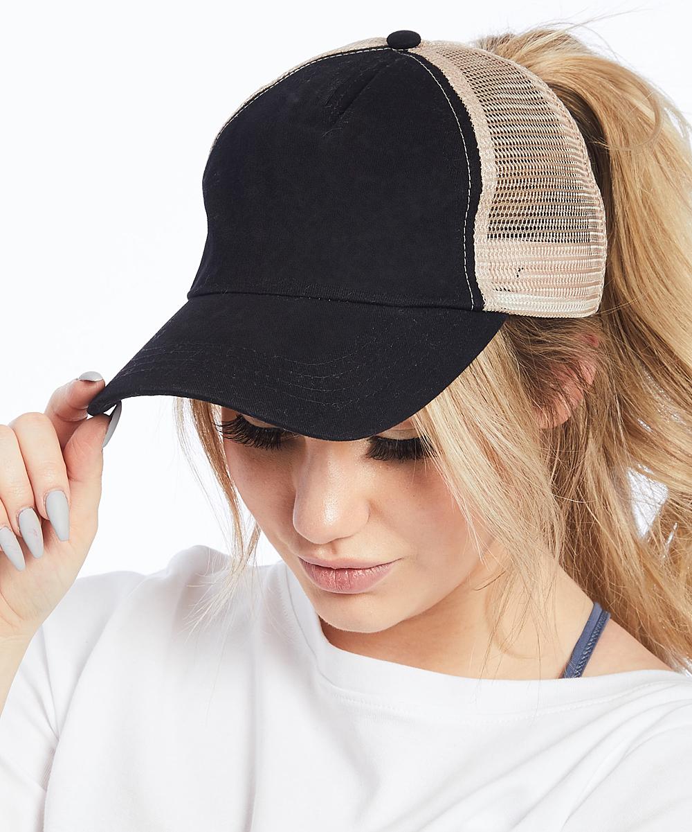 a2c19f4e ... Womens BLACK Black Ponyflo Trucker Hat - Alternate Image 2