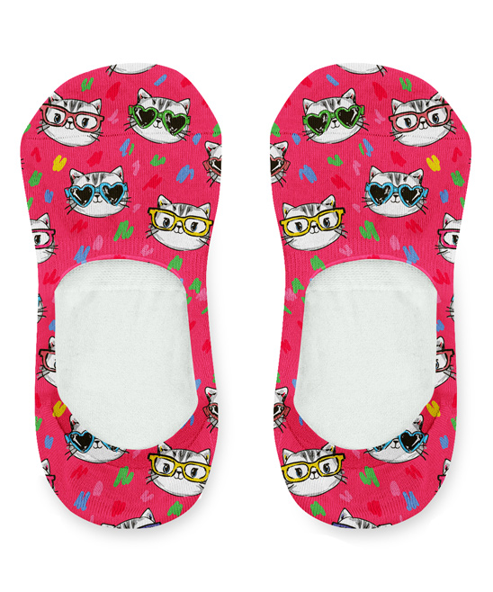 Red Cat with Glasses Socklets Red Cat with Glasses Socklets. Keep toes in cozy comfort with these low-rise socks splashed in a vibrant design to give your feet creative flair. Fits shoe sizes 5 to 1053% cotton / 45% polyester / 2% spandexMachine wash; dry flatImported