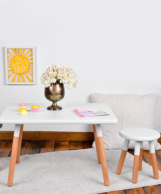 White & Brown Table & Chair Set