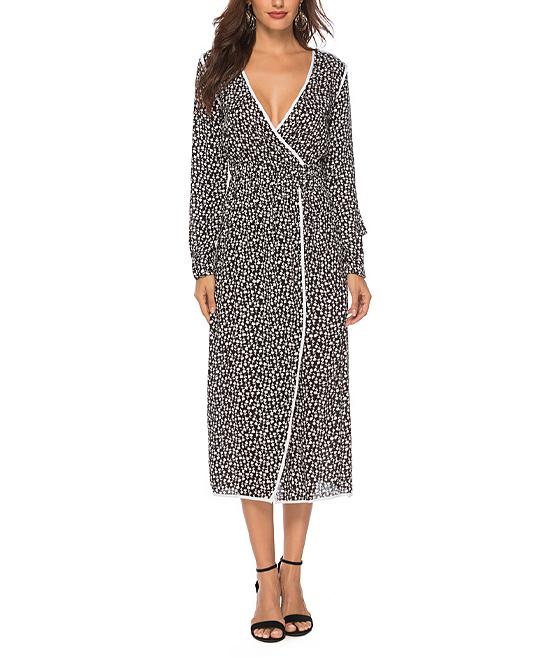 b9122f4271f82 Msquared Black   White V-Neck Midi Wrap Dress - Women