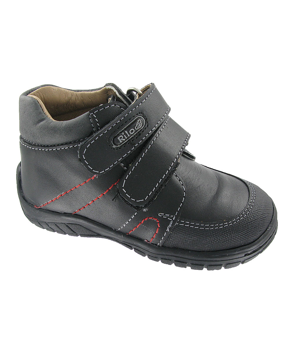 Rilo Shoes Boys' Sneakers Black - Black Leather Hi-Top Sneaker - Boys