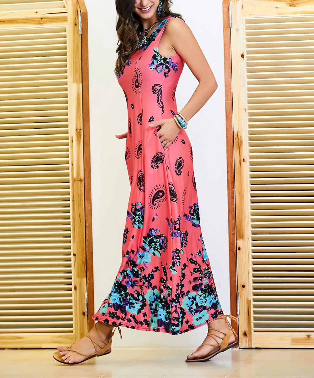 83271b3f811a Fuchsia   Teal Floral Sleeveless Maxi Dress - Women   Plus