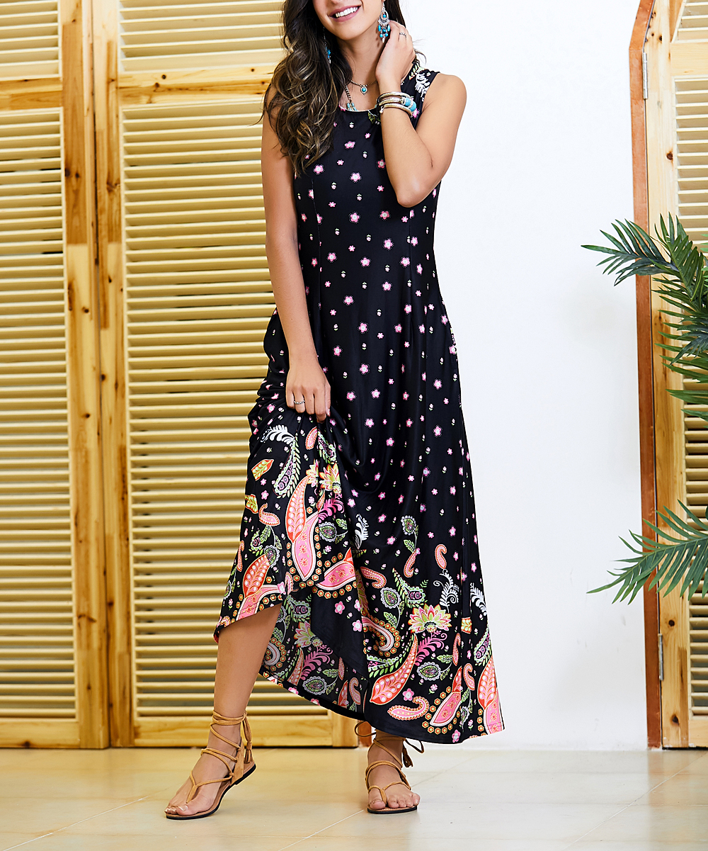 9cfc8589e2e7 Black   Pink Paisley Sleeveless Maxi Dress - Women   Plus