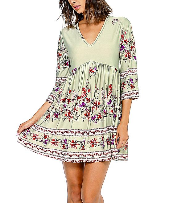 f083e4ec58e9 love this product Pink Floral V-Neck Empire-Waist Dress - Women   Plus