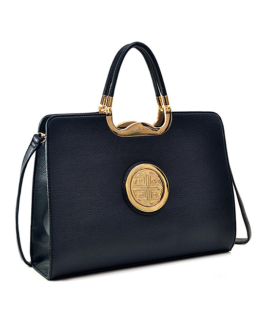 Black Medallion Top-Zip Tote