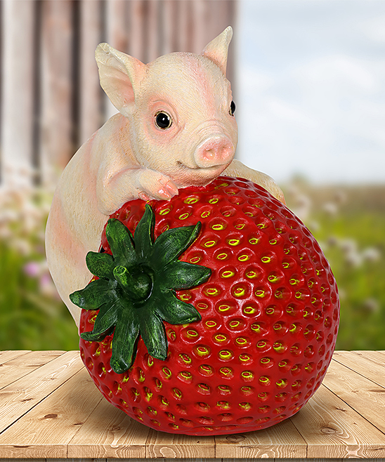 Solar Pig & Strawberry Figurine