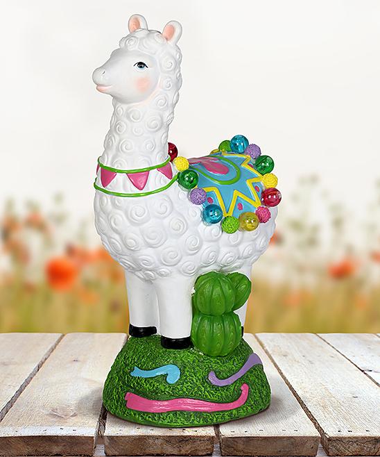 Solar Festive Llama & Cactus Figurine