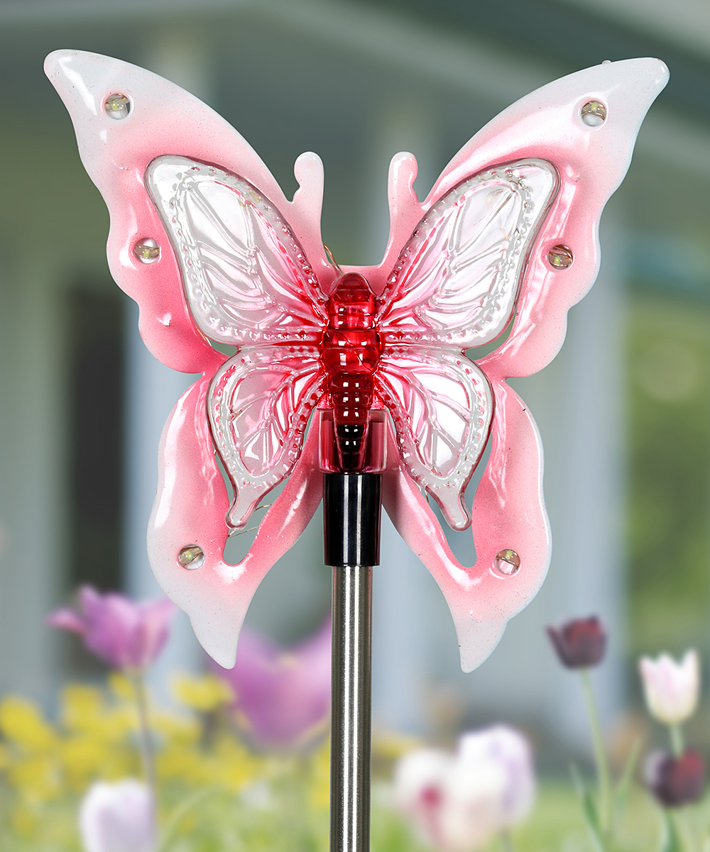 Pink Solar-Powered Butterfly Wings Garden Stake