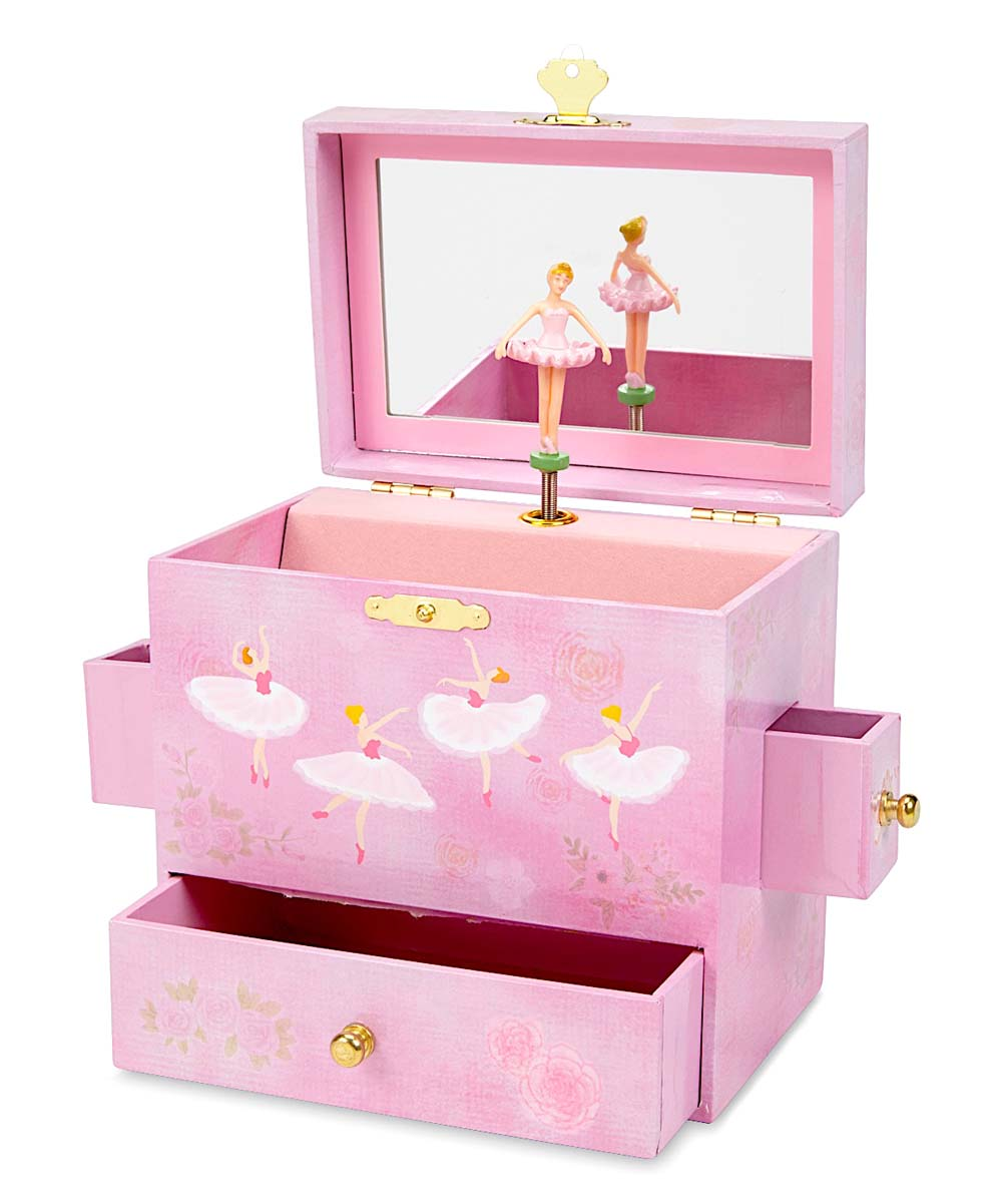 Music Box Music Box. Gift your child with this charming keepsake complete with a wind-up musical feature, top shelf and lower drawer for organizing jewelry and collectibles. Medium-density fiberboardWipe cleanImported