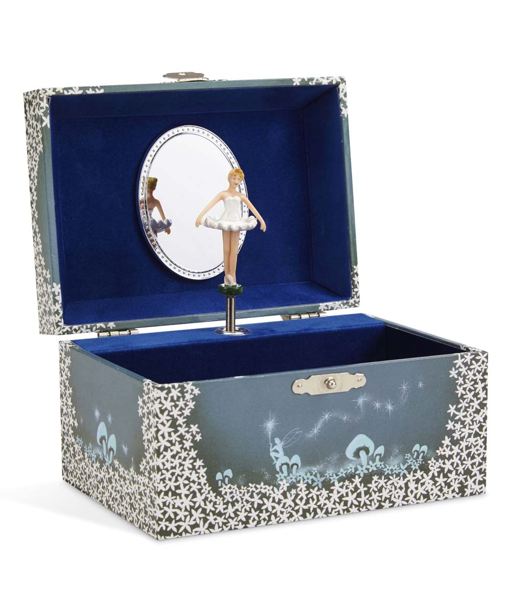 Music Box Music Box. Gift your child with this charming keepsake complete with a wind-up musical feature, top shelf and lower drawer for organizing jewelry and collectibles. Imported